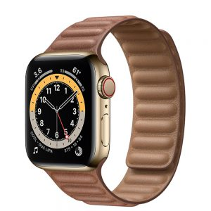 ساعت هوشمند اپل واچ سری 6 آلومنیوم طلایی با بند چرم